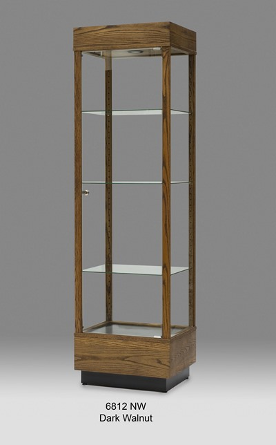 Wooden Rectangular Tall Glass Display Cabinet Tower