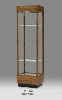 Wooden Rectangular Tall Glass Display Cabinet, Tower ...