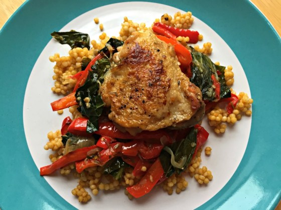 Crispy Chicken Thighs with Collards and Bell Peppers