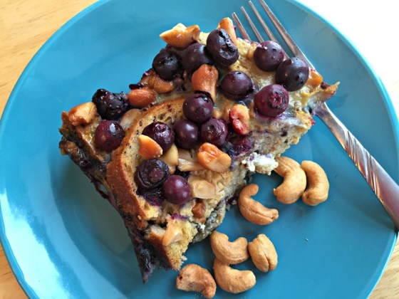 Blueberry Cashew French Toast Casserole
