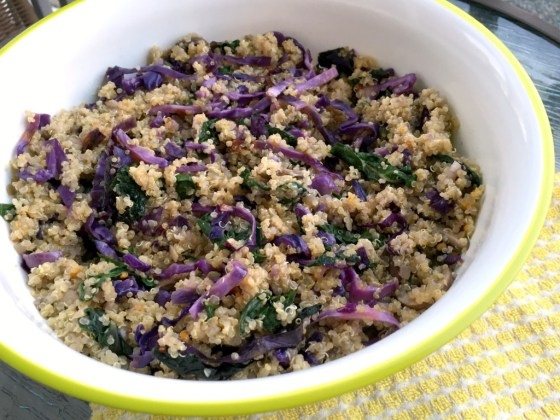 Chard and cabbage quinoa with orange sesame dressing