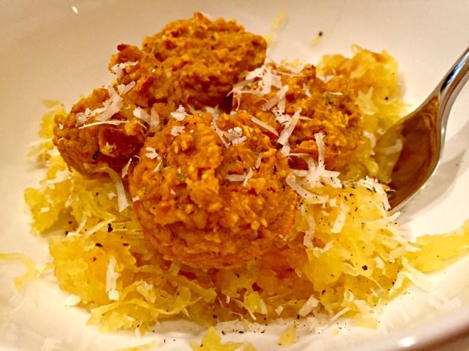 Pumpkin Sage Meatballs over Spaghetti Squash