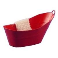 Dollhouse Red Galvanized Bathtub with Towel