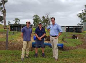 Senior Risk Specialist Stuart Maidment with Andrew Wood, Parmalat Farm Services Commercial Manager and Joel Dorries - owner of Dorries Dairy in Wingham NSW.