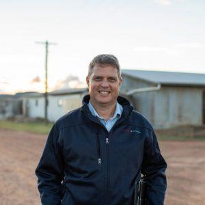 Risk Specialist Gerard Bennett with potato and sheep farmer Garry