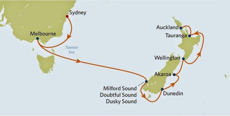 celebrity solstice, itinerary, mapa, australia, nova zelandia