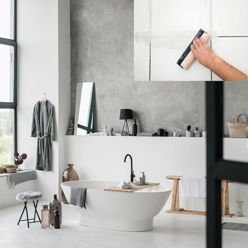 beton cire salle de bain sur carrelage kit sol et mur 2m2 a 10m2