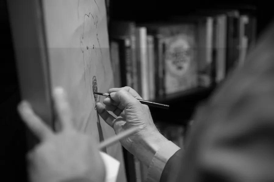 Chris Riddell's drawing hand I