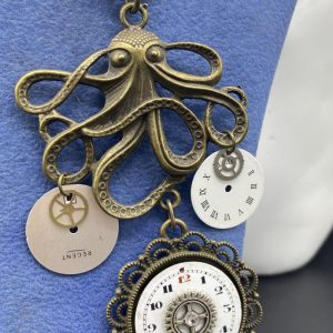 Octopus and Gears Necklace