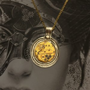 Steampunk Gold Mechanism Necklace