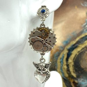Steampunk earrings with angels