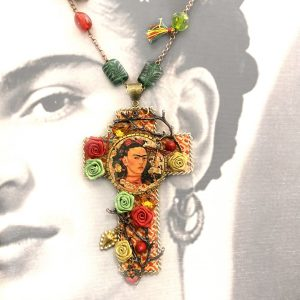 Frida Kahlo Necklace Cross