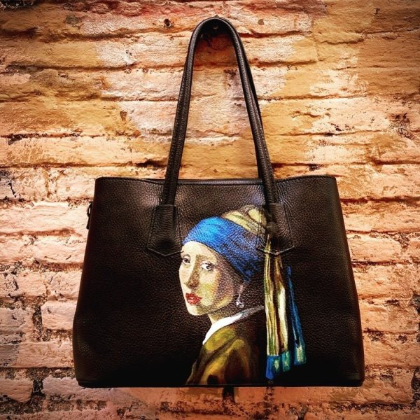 Girl with a Pearl Earring Hand Painted Bag