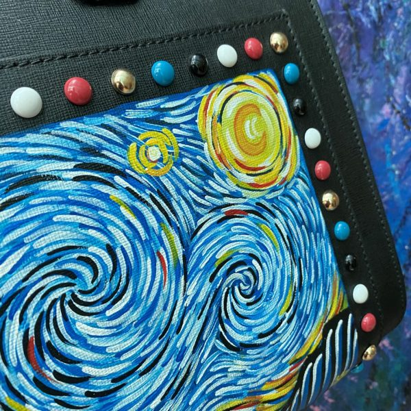 Van Gogh starry night hand painted bag