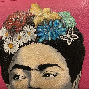 Frida Kahlo's eyes hand painted bag