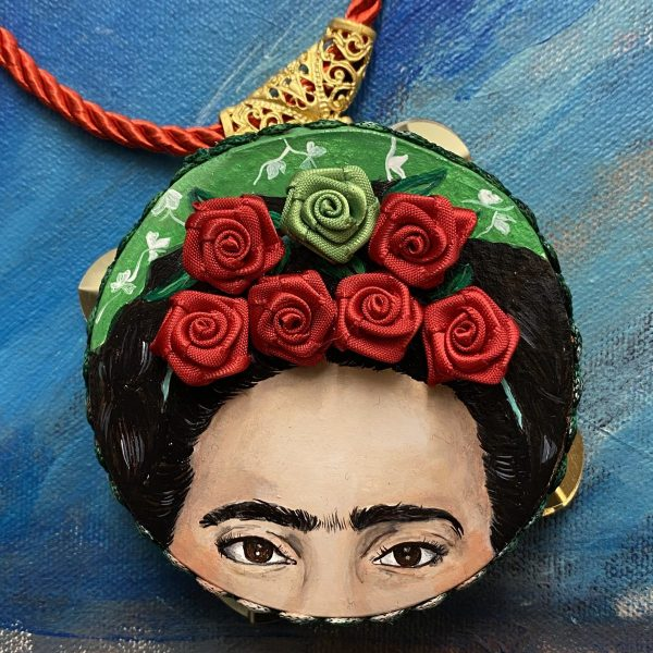 Frida Kahlo tambourine necklace with flowers