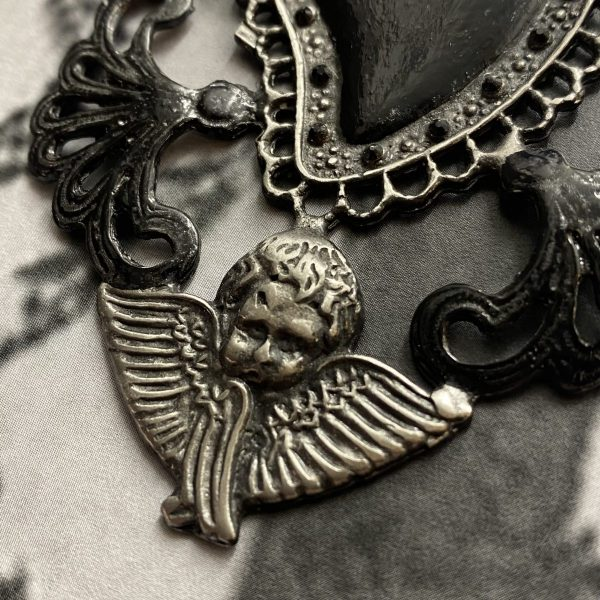 Sacred heart with angels necklace