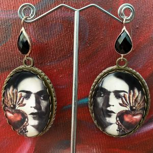 Frida Kahlo Heart handmade earrings