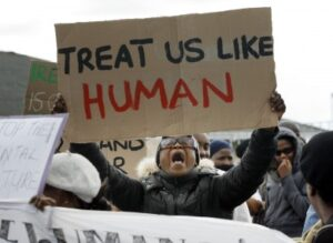 Asylum seekers protest at Mosney in 2010. Photo: Mark Stedman, Photocall Ireland.