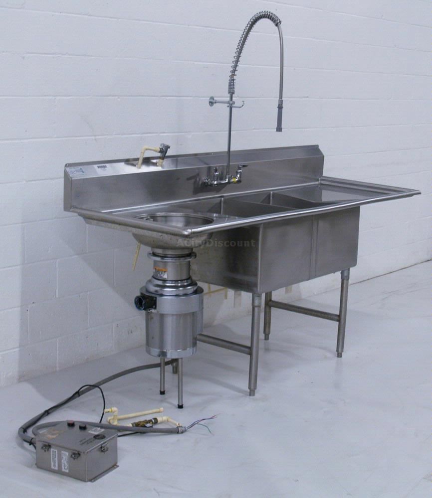 ss kitchen sinks small rustic table used in-sink-erator ss200 2 compartment commercial sink w ...