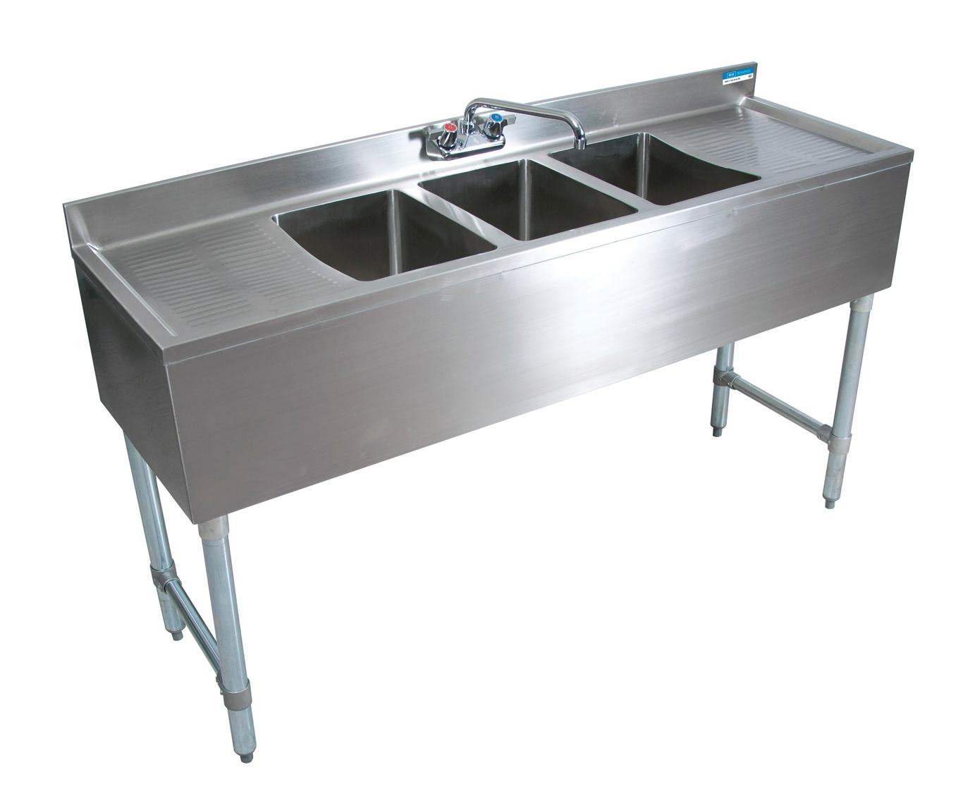 Bk Resources Bkubw 372ts 72 W 3 Compartment Slim Line Underbar Sink W S S Leg