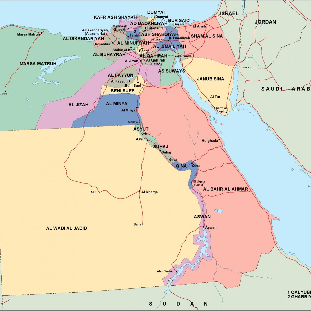 Egypt Political Map Vector Eps Maps