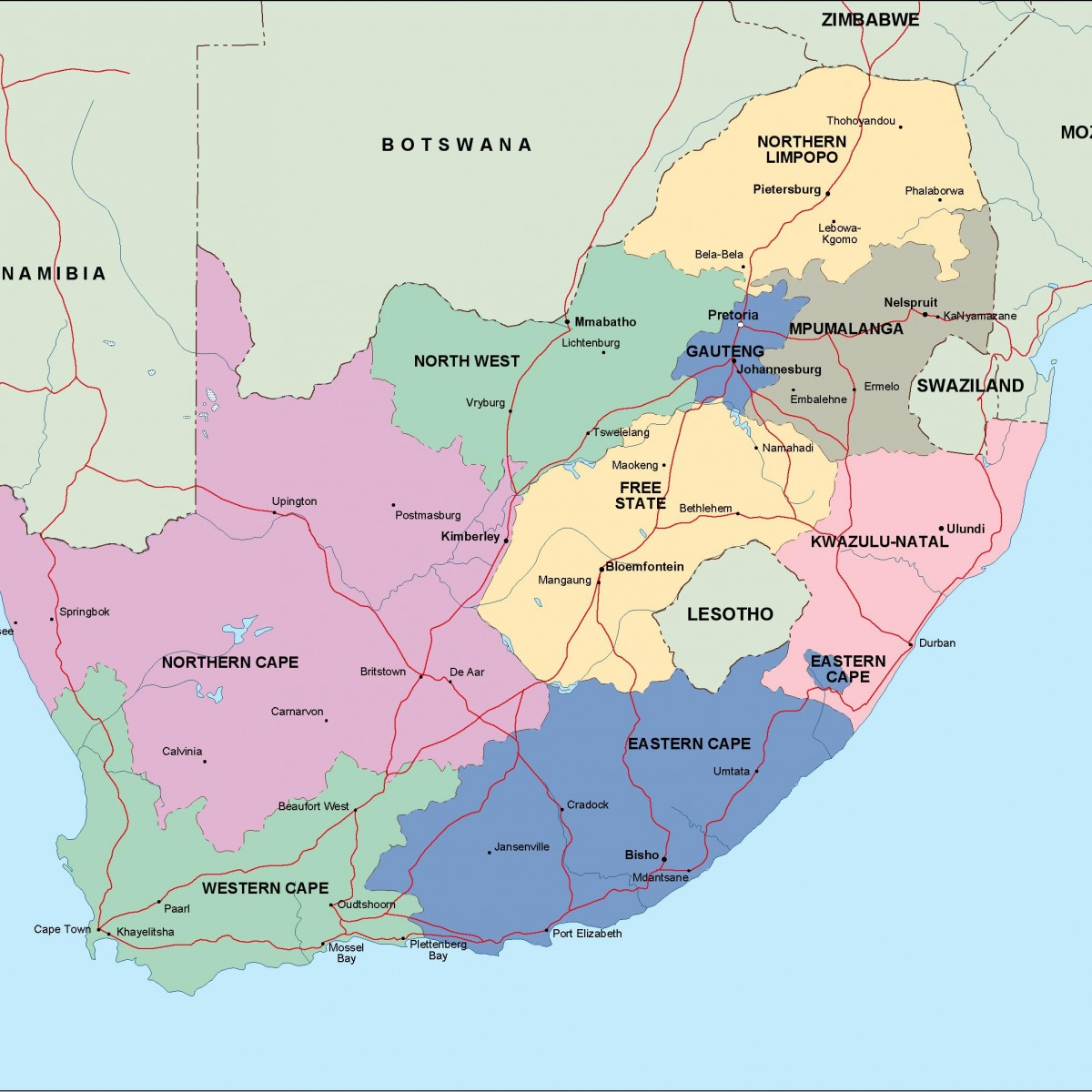 South Africa Political Map Vector Eps Maps