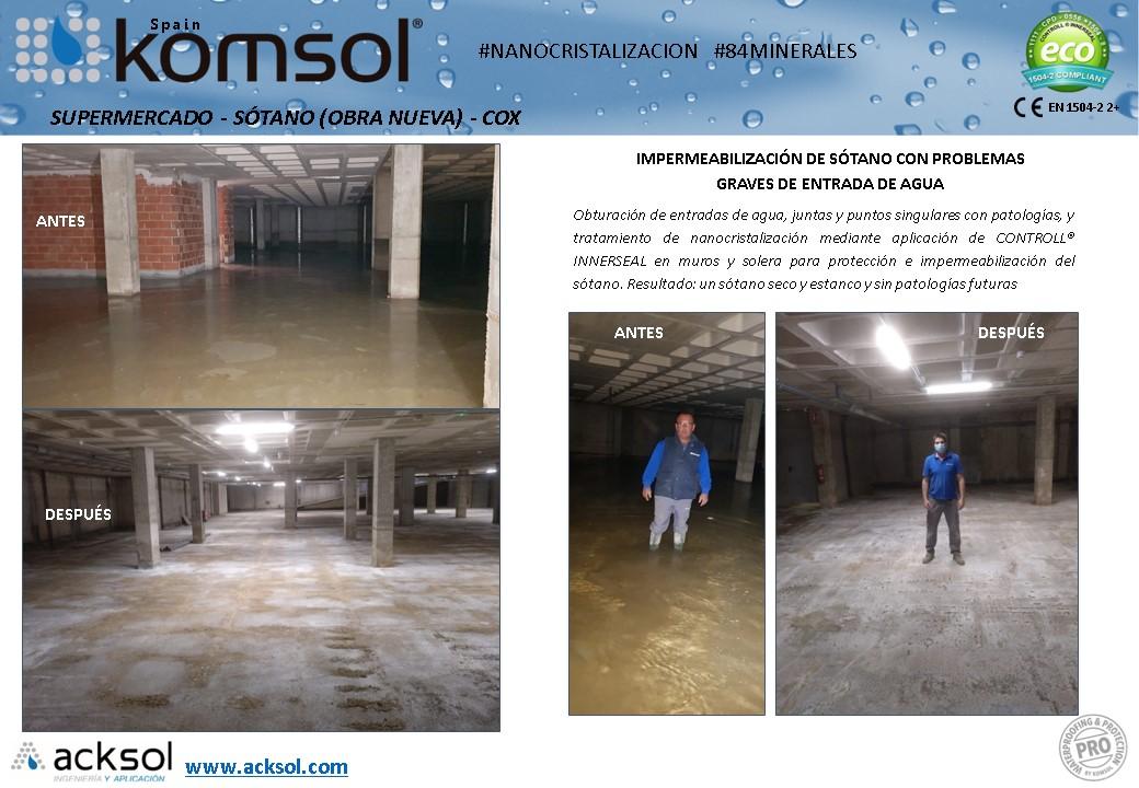 Tratamiento de filtraciones en sótano en COX