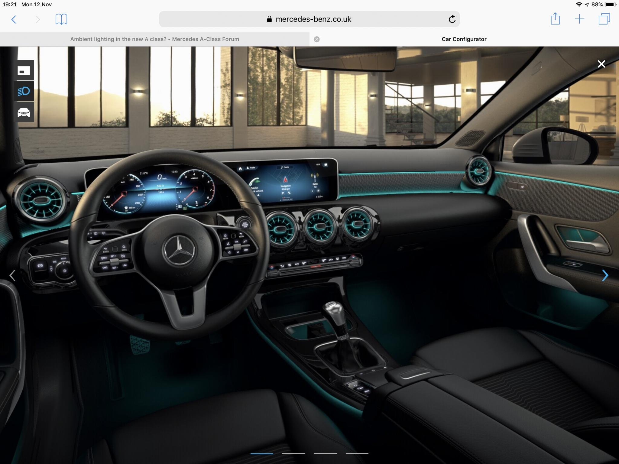 ambient lighting in the new a class