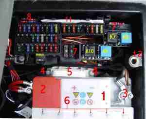 Bert Rowe'sAclass info Battery Compartment, Fuses & Relays