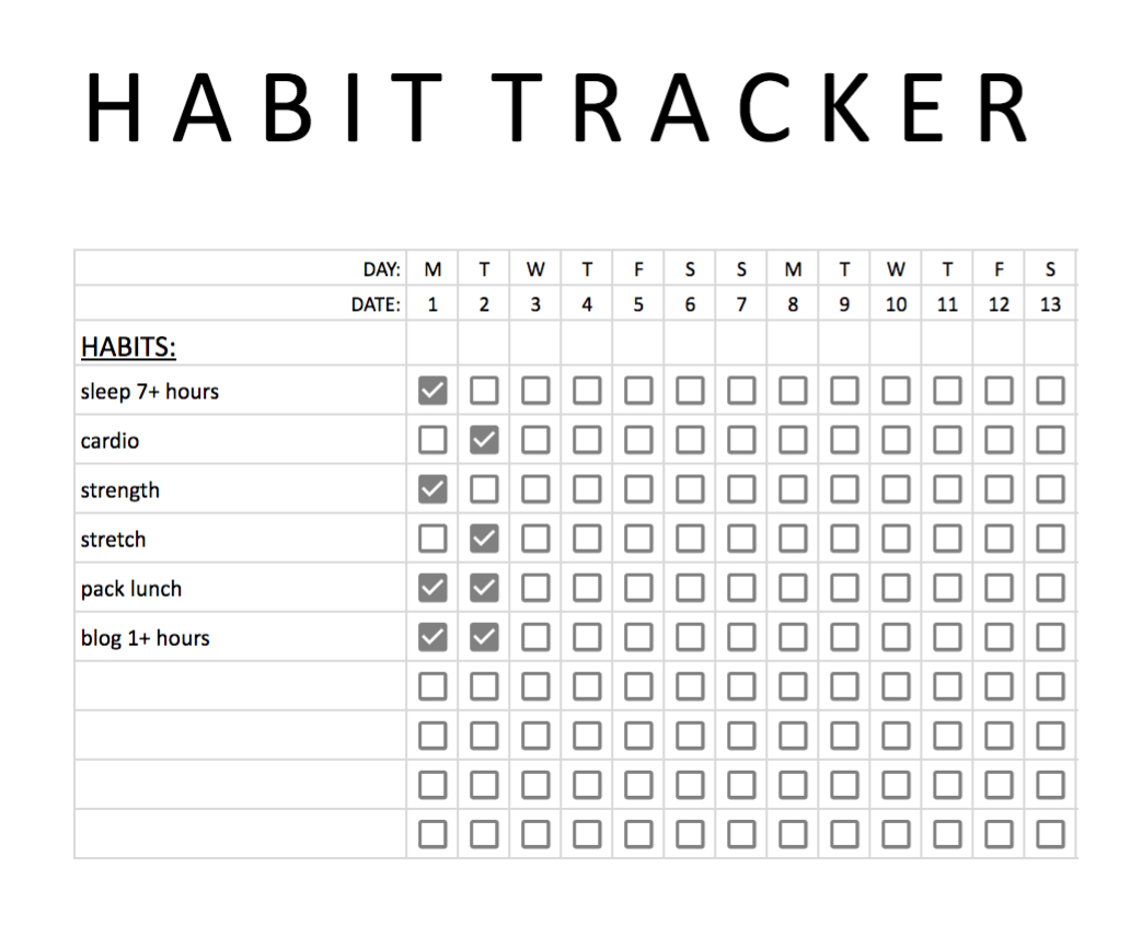 picture relating to Habit Tracker Free Printable identify Absolutely free Behavior Tracker in direction of Guidance Oneself Accomplish Your Objectives - A Fresh Bee