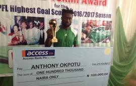 Okpotu receives topscorer prize from Rashidi Yekini Foundation
