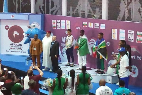 Peter Ukoro on the podium