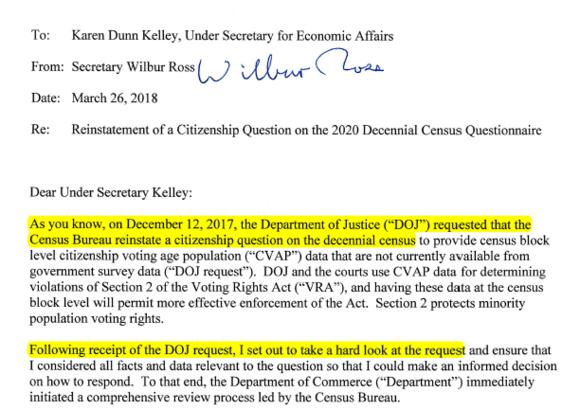 Email From Secretary Wilbur Ross