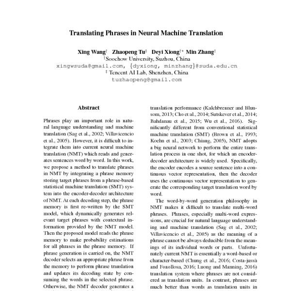 Translating Phrases in Neural Machine Translation - ACL Anthology