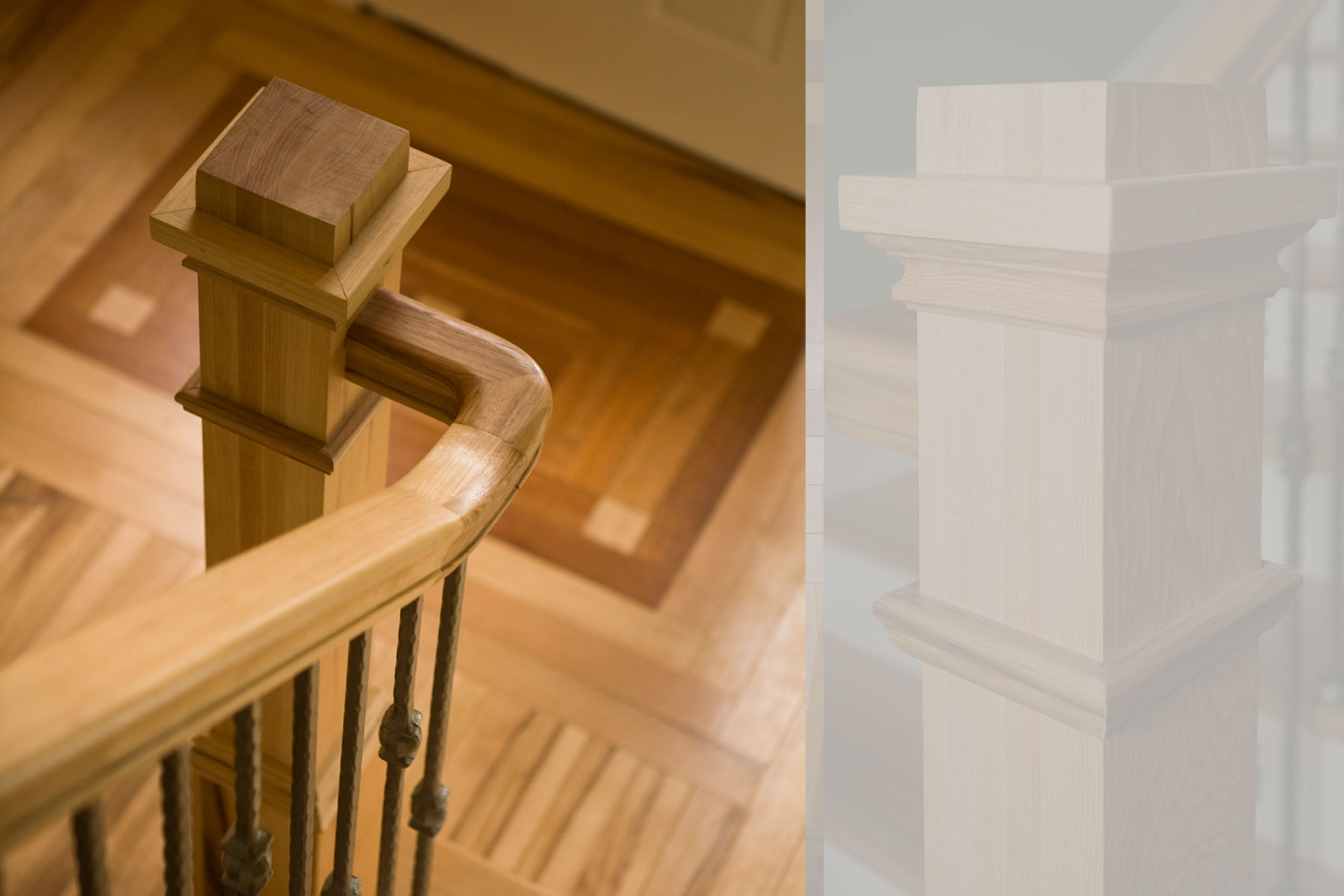 Detail Of Wood Newel Post In Craftsman Style Renovation Along With | Craftsman Style Newel Post | Design | Staircase | Railing | Square | Interior