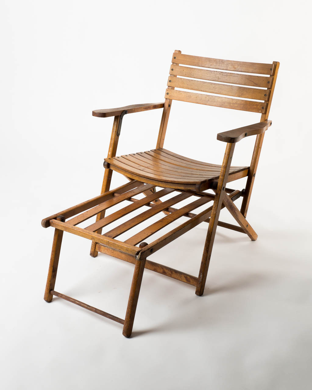vintage wooden chairs bed that turns into a chair ch060 beach prop rental acme brooklyn front view of