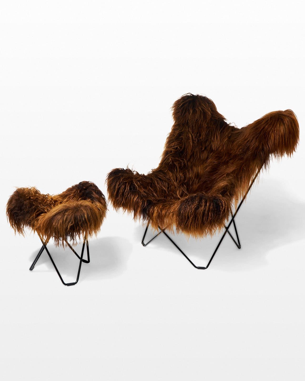 CH404 Bacca Fur Butterfly Chair Prop Rental  ACME Brooklyn
