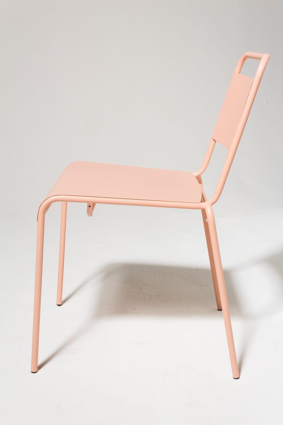 CH502 Blush Pink Metal Chair Prop Rental  ACME Brooklyn