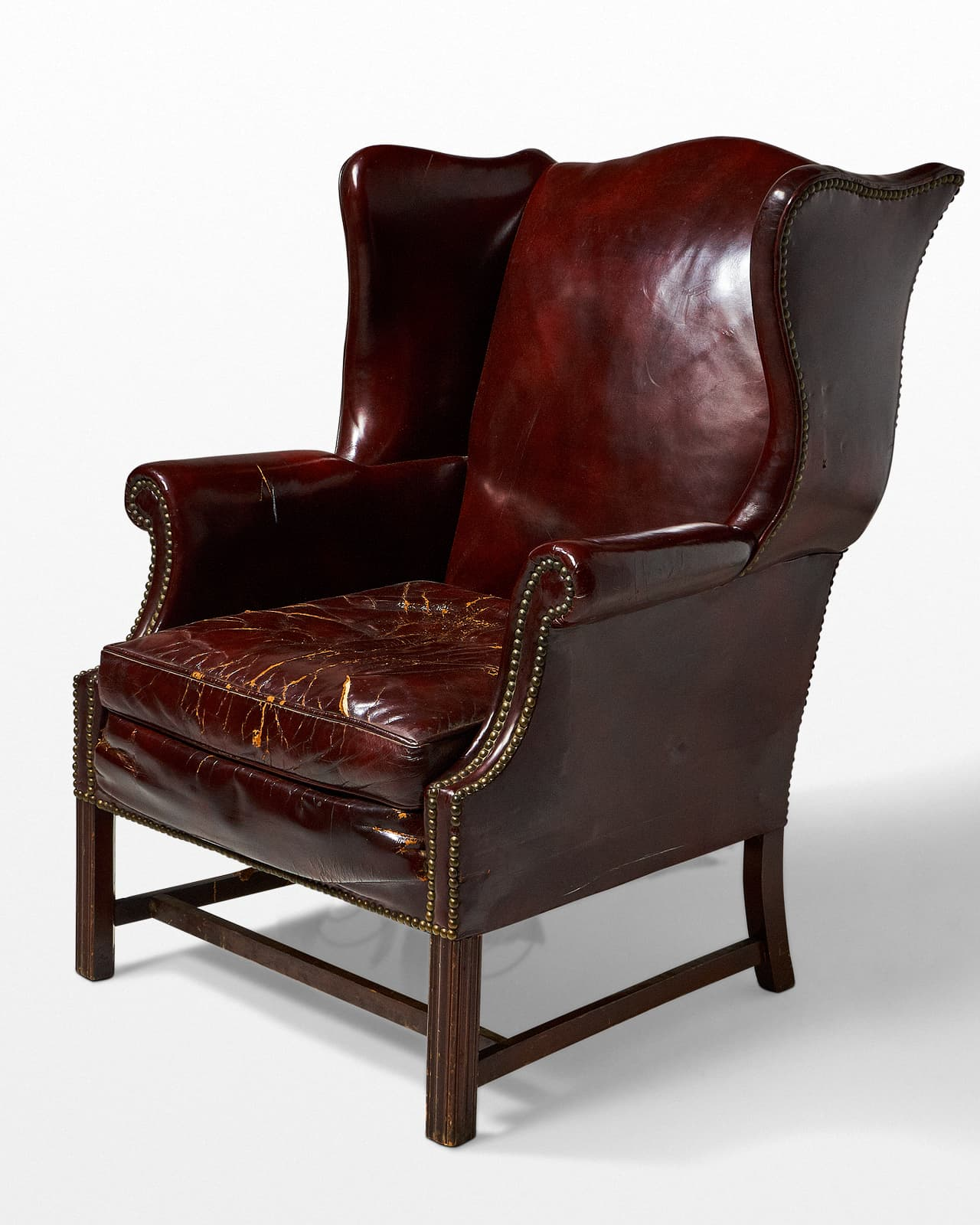 CH520 Harold Distressed Leather Wingback Chair Prop Rental
