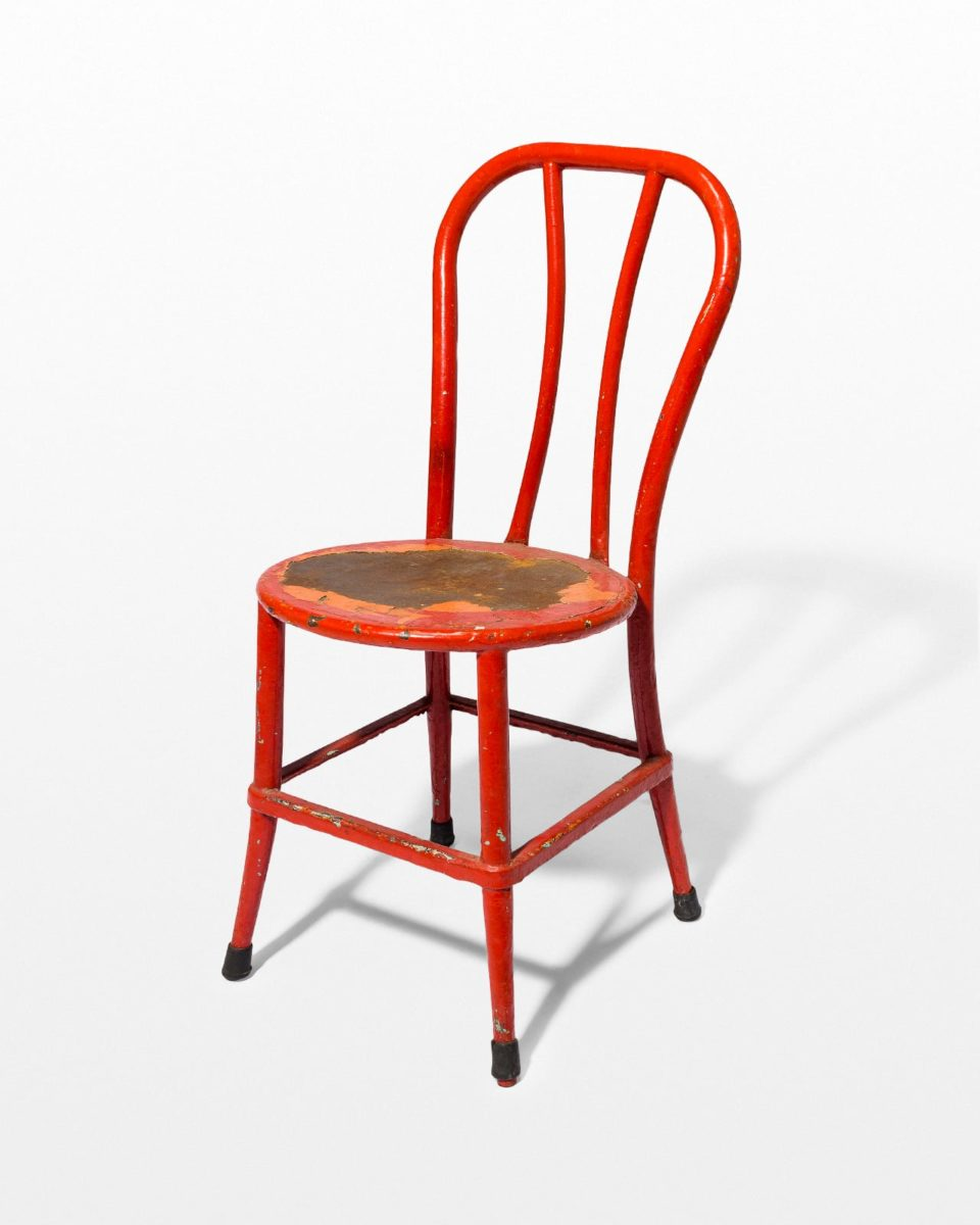 CH626 North Distressed Red Metal Chair Prop Rental  ACME
