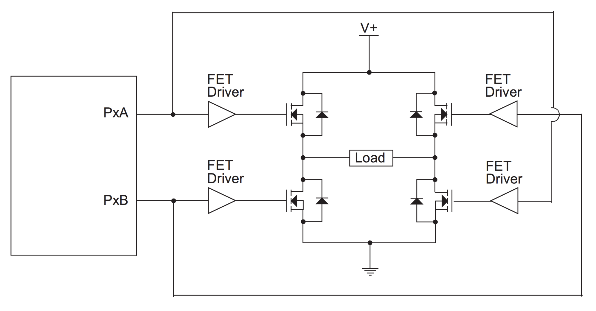 hight resolution of there are plenty of dedicated h bridges chips that include drivers power mosfets control logic and other useful features an example of them is the texas