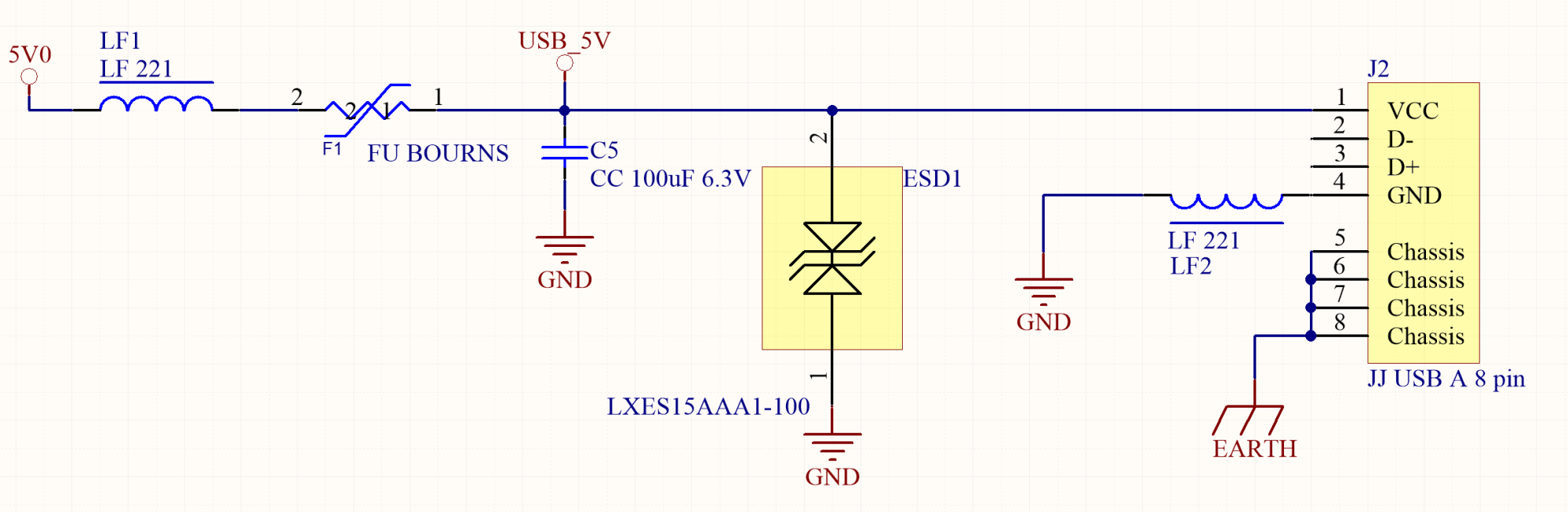 hight resolution of a protection from external devices interferences and current overload must be added between the power supply and the usb type a host connector