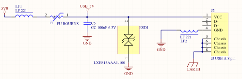 small resolution of a protection from external devices interferences and current overload must be added between the power supply and the usb type a host connector