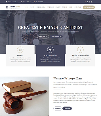 Lawyer Zone Pro - Premium WordPress Theme for Lawyer, Law offices & Law firms