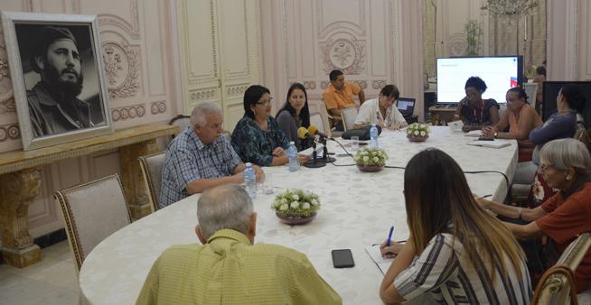 Conferencia de prensa sobre los resultados del movimiento de solidaridad con los pueblos, en la sede del Instituto Cubano de Amistad con los Pueblos (ICAP), en La Habana, el 9 de enero de 2019.