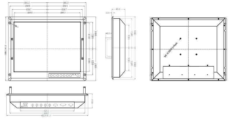 9U 20-inch 1600 x 1200 military grade LCD monitor