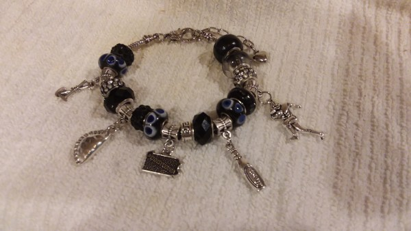 coal region black tone european bead bracelet