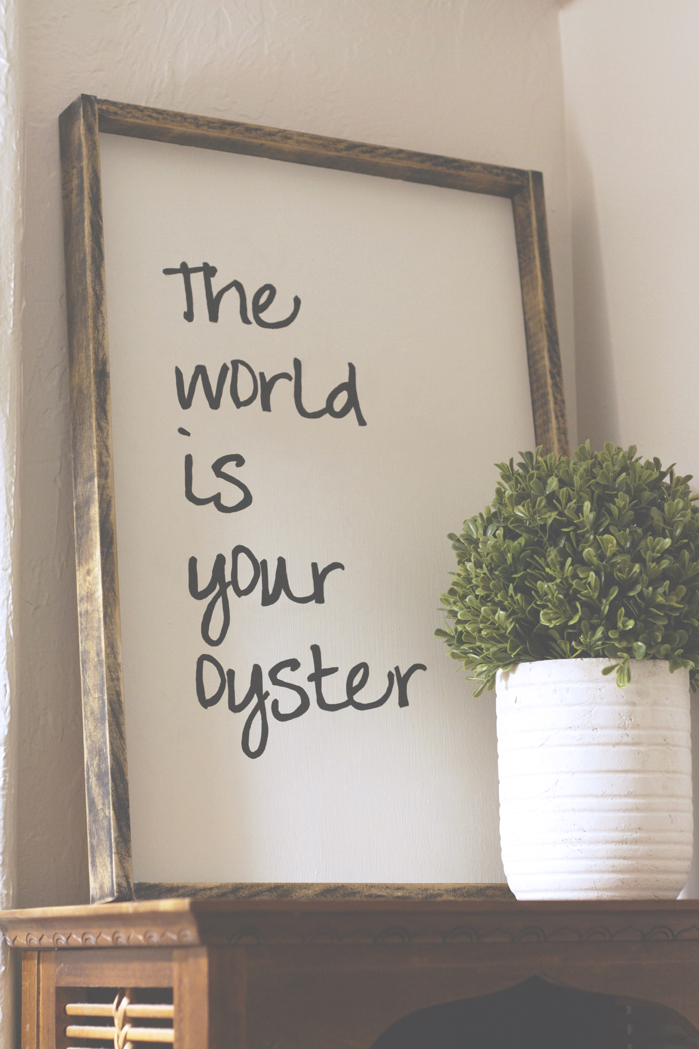 DIY Farmhouse Style Sign: The World is Your Oyster