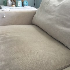 Crate And Barrel Lounge Sofa Pilling White Fabric American Signature Review A Coastal Cottage Truly Mortifying We Cover It With Sheet When Have Guests You Can See Stray Feathers On The Bottom Left Side Of Image